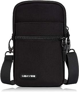 UBAYEE Kleine Handy Umhängetasche bis zu 6,7 Zoll, Herren Handytasche Schultertasche mit RFID-Blockierung Fach - Schwarz