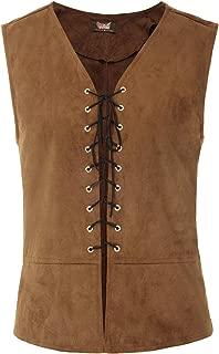 Mens Renaissance Steampunk Lace-up Vest Gothic Waistcoat
