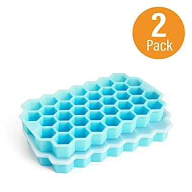 Ice Cube Trays, Arctico 2 Pack Food Grade Flexible Silicone Ice Cube Molds with Lid, BPA Free with Spill-Resistant Removable Lid Ice Cube Molds for Chilled Drinks, Whiskey & Cocktails - Robin Blue