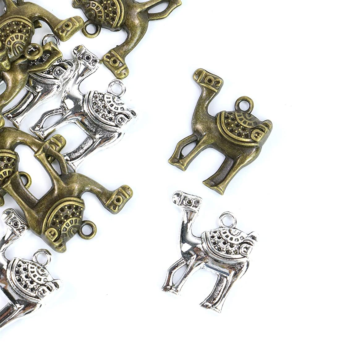 Monrocco 30Pcs 2 Colors 24x24mm Camel Charms Pendants Alloy DIY Jewelry Findings for Jewelry Making and Crafting