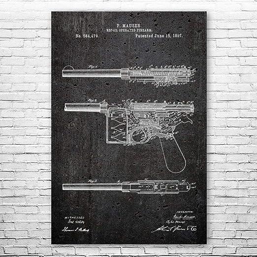 Mauser C96 Pistol Poster Print Vintage Handgun Gun Collector Gift Gun Club Art