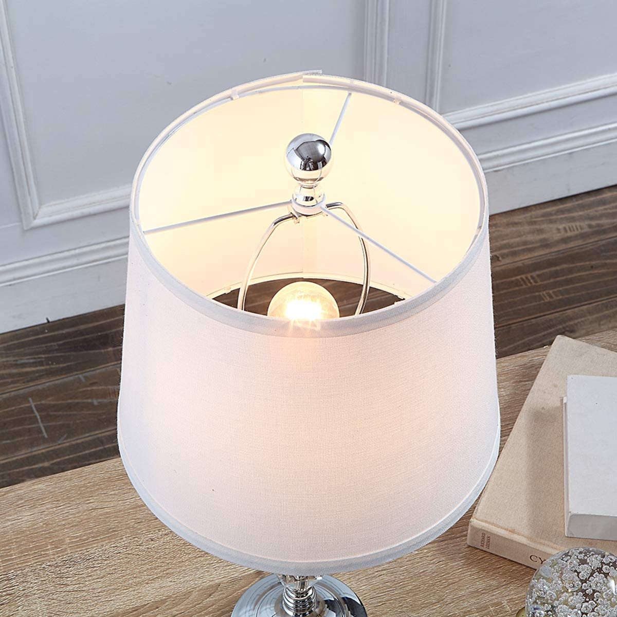 Topotdor 22 Crystal Table Lamp with 2 USB Charging Ports Set of 2,Modern Bedside Lamp with Beige Lamp Shade Perfect Bedroom Living Room Office