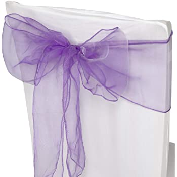 Event Decoration Trimming Shop Lilac Purple Organza Sashes Chair Cover Assorted Colour Fuller Bow Ribbon for Wedding Banquet Birthday 25pcs 17cm x 280cm