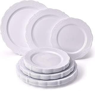 Silver Spoons 120 pc Disposable Plastic Dinnerware Set, 40 Servings, White