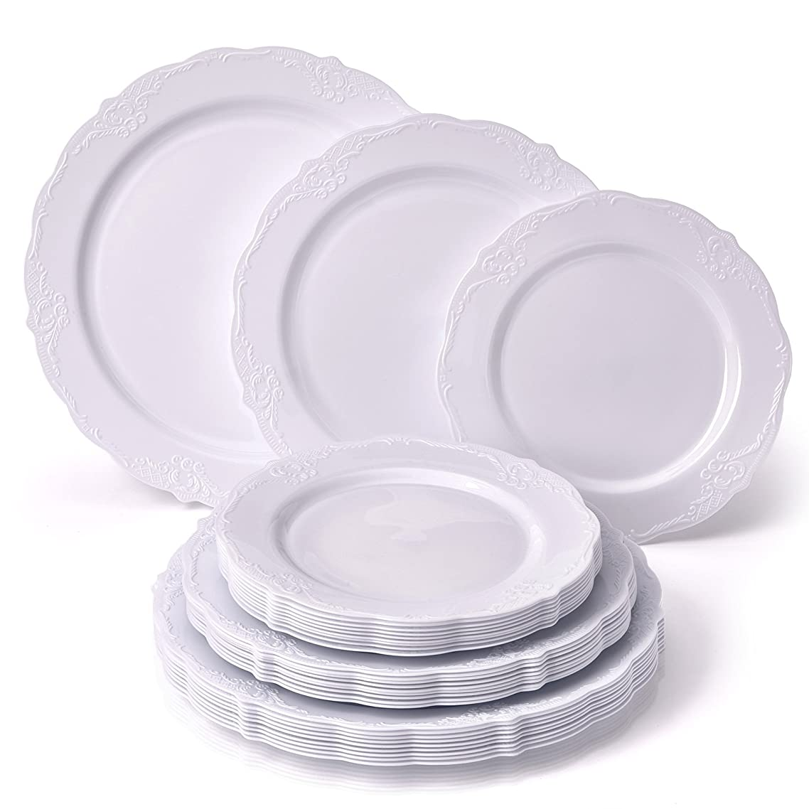 PARTY DISPOSABLE 30 PC DINNERWARE SET | 10 Dinner Plates | 10 Salad Plates | 10 Dessert Plates | Heavyweight Plastic Dishes | Fine China Look | Upscale Wedding and Dining (Vintage Collection - White)