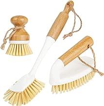 mDesign Juego de 3 cepillos de bambú para limpieza – Cepillo redondo y escobilla con mango para fregar ollas y sartenes – Robusto cepillo manual para suelos y paredes – blanco/natural