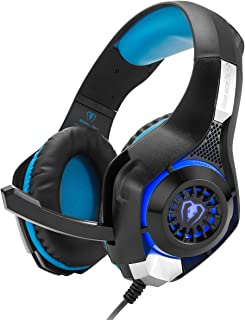 Cocar Gaming Headset, Bass Enhanced Headphone for Playstation PS4 PSP Xbox One Tablet iOS iPad Smartphone Free Adapter Cable for PC with Mic Noise Cancelling Black,  GM-1 Blue