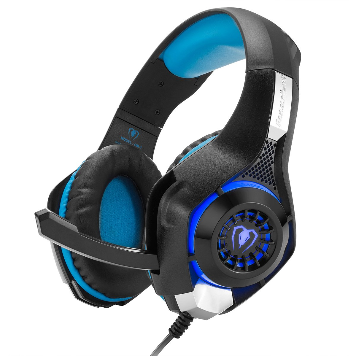 Amazon Com Cocar Gaming Headset Bass Enhanced Headphone For Playstation Ps4 Psp Xbox One Tablet Ios Ipad Smartphone Free Adapter Cable For Pc With Mic Noise Cancelling Black Gm 1 Blue Video Games