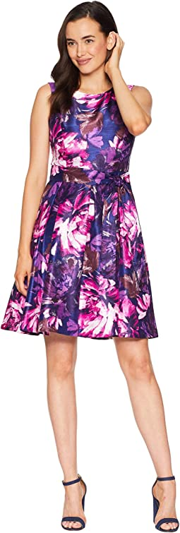 Shantung Princess Seam Dress w/ Pleat Flare Skirt and Sash