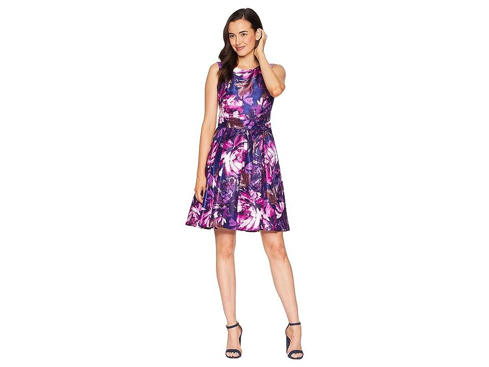 Nine West Shantung Princess Seam Dress w/ Pleat Flare Skirt and Sash (Plum Multi) Women