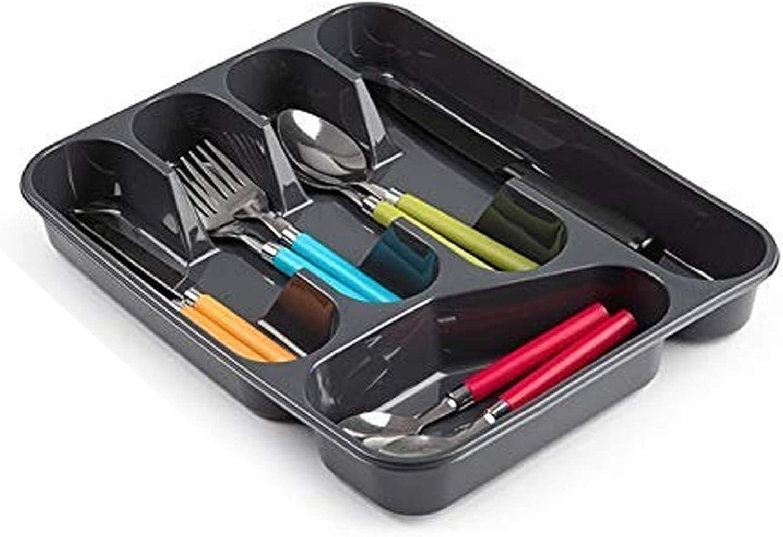PlasticForte - Bandeja organizadora de cubiertos para cajón, tamaño grande, de plástico resistente, plástico, Gris, 33.5 x 26.5 x 4.5 cm - Solid Base
