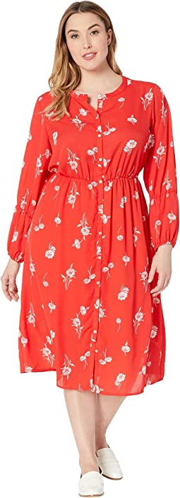 Plus Size Diane Long Sleeve Shirred Maxi Dress