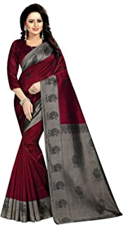 PINK WISH Mysore Art Silk Saree With Blouse Piece(MAYURI RED_Red_Free Size)