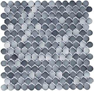 Vogue Tile Mix Dark Gray Penny Round Porcelain Mosaic (Box of 10 Sheets), Floor and Wall Tile, Backsplash Tile, Bathroom Tile on Mesh for Easy Installation