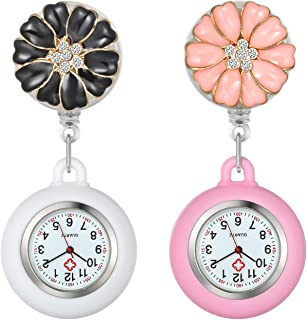 Women's Retractable Nurse Watch Cute Flower Clip on Lapel Hanging Doctor Clinic Staff Tunic Stethoscope Badge Quartz Fob Pocket Watch with Silicone Cover