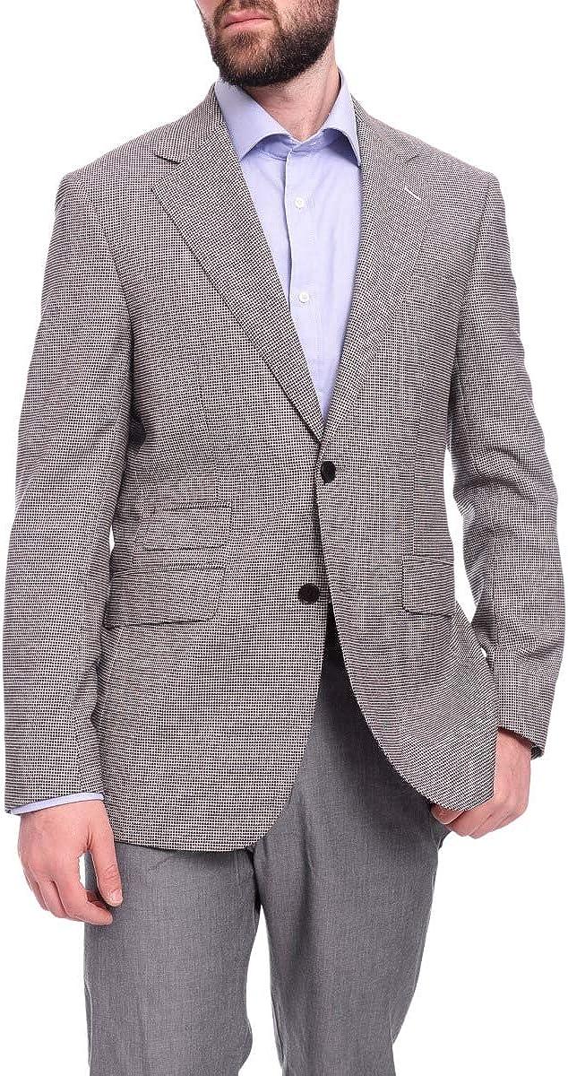 Napoli Slim Fit Gray Check Half Canvassed Silk Columbo Wool Blazer Sportcoat