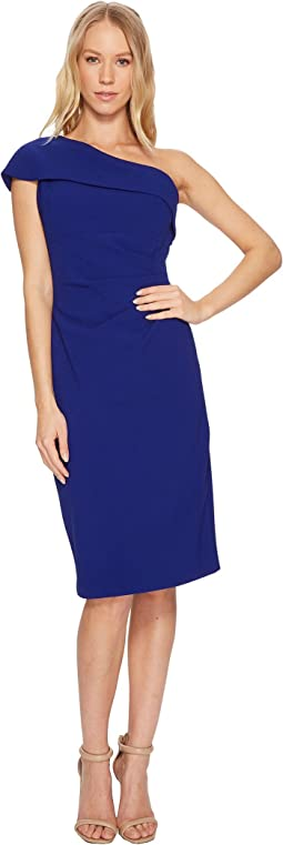 Vince Camuto - One Shoulder Midi Sheath Dress with Side Tucks