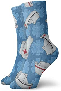 tyui7, Sombreros de enfermera Calcetines de compresión antideslizantes azules Calcetines deportivos de 30 cm para hombres, mujeres y niños