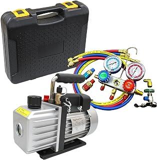 WEIMALL エアコン ガスチャージ マニホールドゲージ & 真空ポンプ 逆流防止機能付き セット R134a R12 R22 R502 冷媒 クーラー