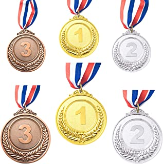 ACKLLR 6 Pieces Gold Silver Bronze Winner Award Medals, Metal Medals Prizes with Neck Ribbon for Competitions Party Olympi...