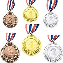 CKANDAY 6 stuks goud zilver brons winner award medaillen, metalen medaillen, prijzen met halsband voor wedstrijden party O...