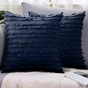 LHKIS Throw Pillow Covers 20x20, Navy Boho Decorative Cushion Cover Pillowcase with Cotton Linen Striped Tassel for Couch Sofa Bedroom Car, Set of 2