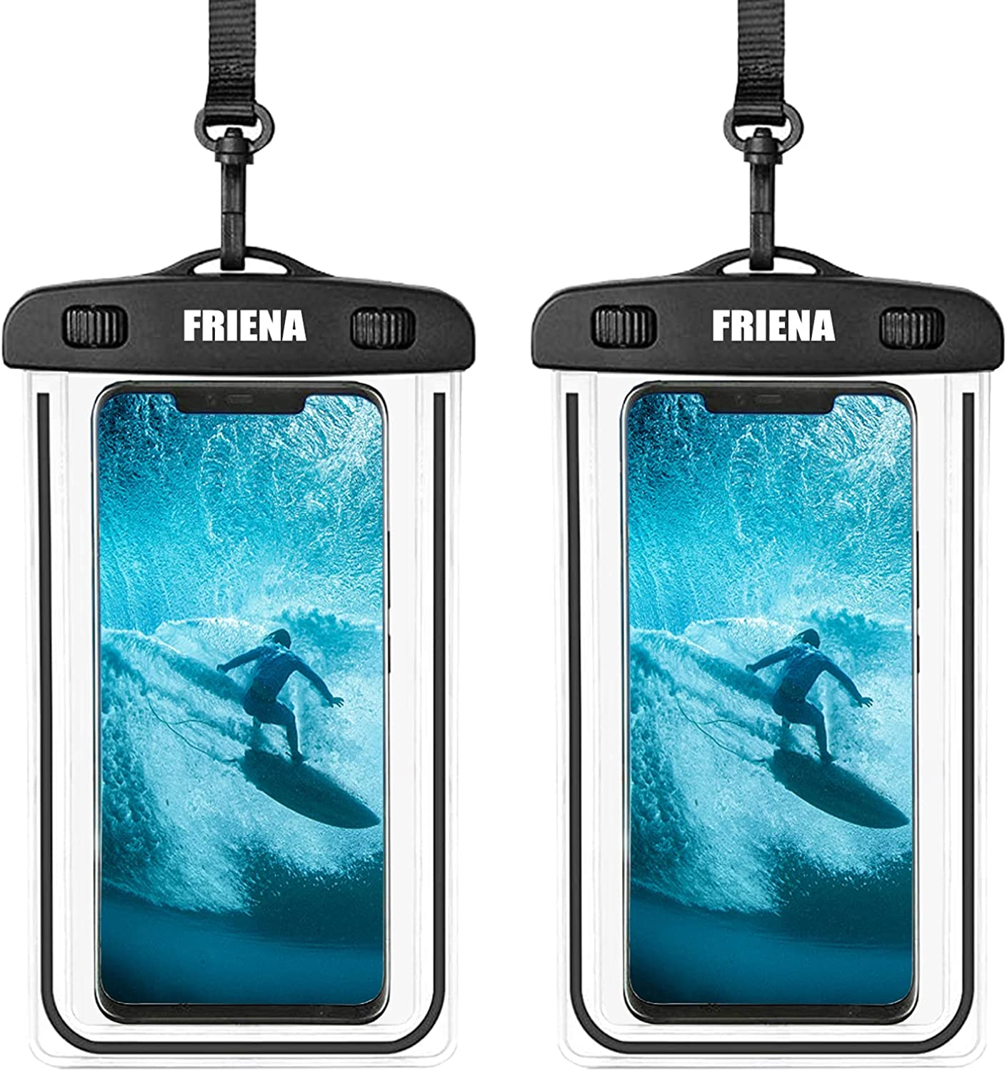 """FRIENA Waterproof Phone Pouch Universal IPX8 Waterproof Phone Case Cellphone Dry Bags Compatible for iPhone 12 Pro 11 Pro Max XS Max XR X 8 7 Samsung Galaxy s10/s9 Up to 6.9"""" (Black)"""