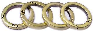 Bobeey 4pcs Round Carabiner Metal Spring Key Ring,Spring Snap Hooks Clip,Spring Keyring Buckle,Flat O Ring for Purses BBC4...