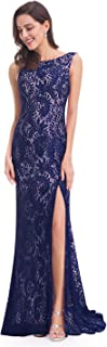 Women's Sexy Fitted Evening Dress with Open Back and Thigh High Slit 08859