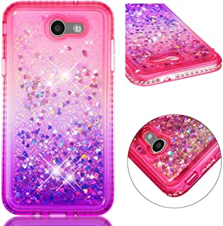 IVY [Quicksand Liquid][Bling Diamond] Shockproof Bumper Anti-Drop Frame Soft TPU Protective Back Cover for Samsung Galaxy J7 2017/Halo/J7 V/J7 Prime/J7 Sky Pro/J7 Perx/On7 SM-J727 - Pink & Purple