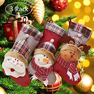 Onlykangfly Christmas Stocking, Christmas Decorations Party Ornaments Kits 18 inch Set of 3 Santa, Snowman, Reindeer, Xmas Character 3D Plush with Faux Fur Cuff for Kids Bag