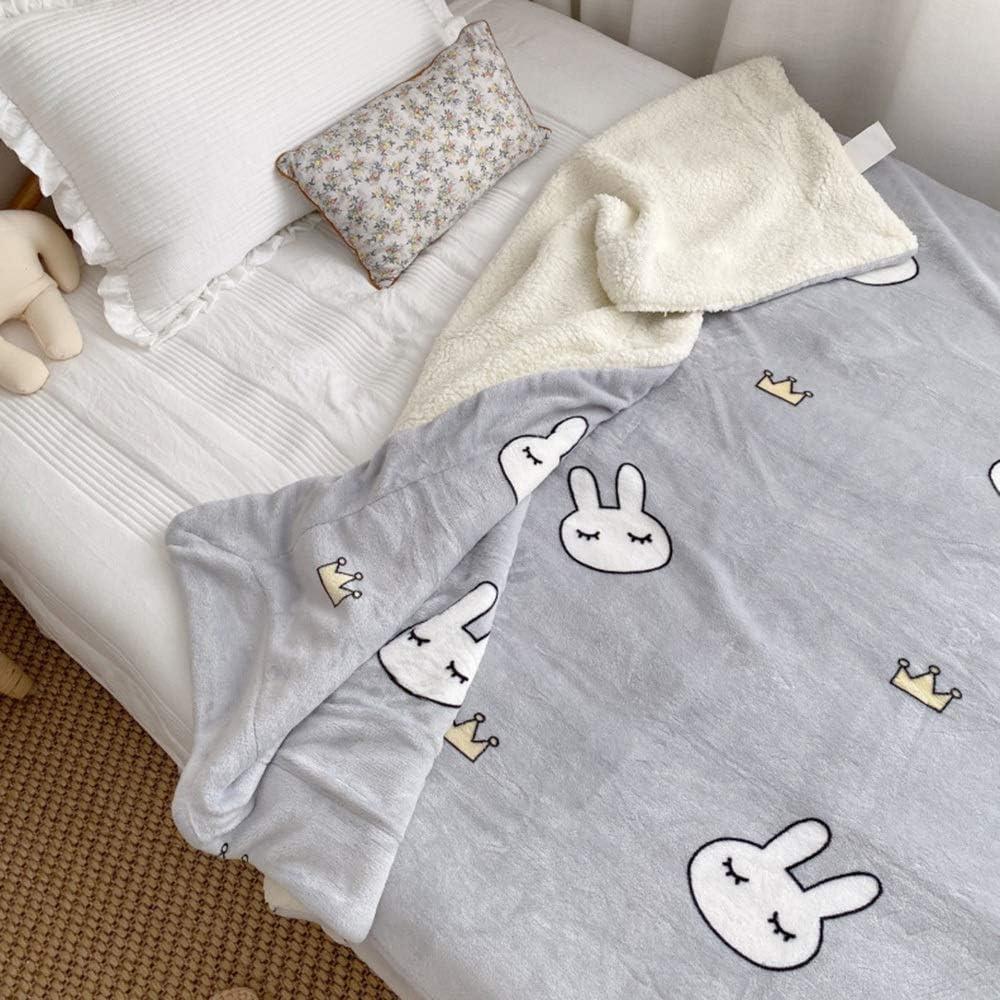 couverture WYDONG Sherpa Fleece Throw Blanket, Double Face, Nap Bébé, Canapé, Lit, Voyage, Super Soft, Easy Clean, Simple / 150 × 200cm (Color : Rainbow) Rabbit Crown