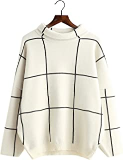 Futurino Women's High Neck Turtleneck Grid Pattern Knitted Sweaters Pullover