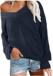 Mikey Store Women's V Neck Solid Color Long Sleeve Waffle Knit Top Off Shoulder Pullover Sweater