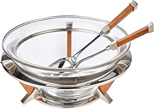 Regent Grigio Stainless Steel Salad Bowl Servers - Multi Color