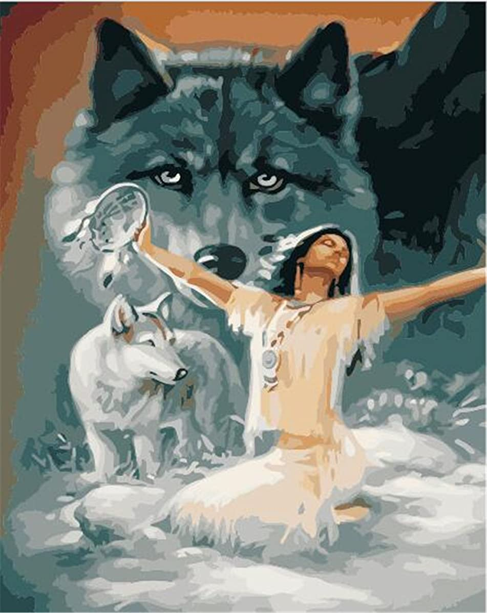 Enchanter And Wolves Paint By Numbers Kits For Adult Kids DIY Painting By Number For Home Wall Decor,16