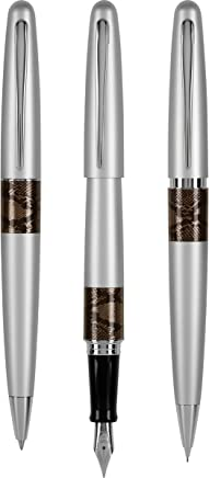 Pilot MR Animal Collection Fountain Ball Point and Pencil Gift Set Matte Silver with Python Accents (91245)