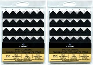 2-Pack Bundle - Canson Self Adhesive Photo Corners, Peel-Off Archival Quality, Black, 252 count each Pack