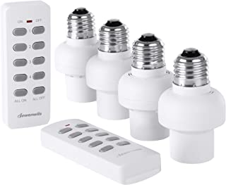 DEWENWILS Remote Control Light Lamp Socket E26/E27 Bulb Base, Wireless Light Switch Kit, White (Programmable, 4 Sockets 2 Remotes, HRLSXXA Series)