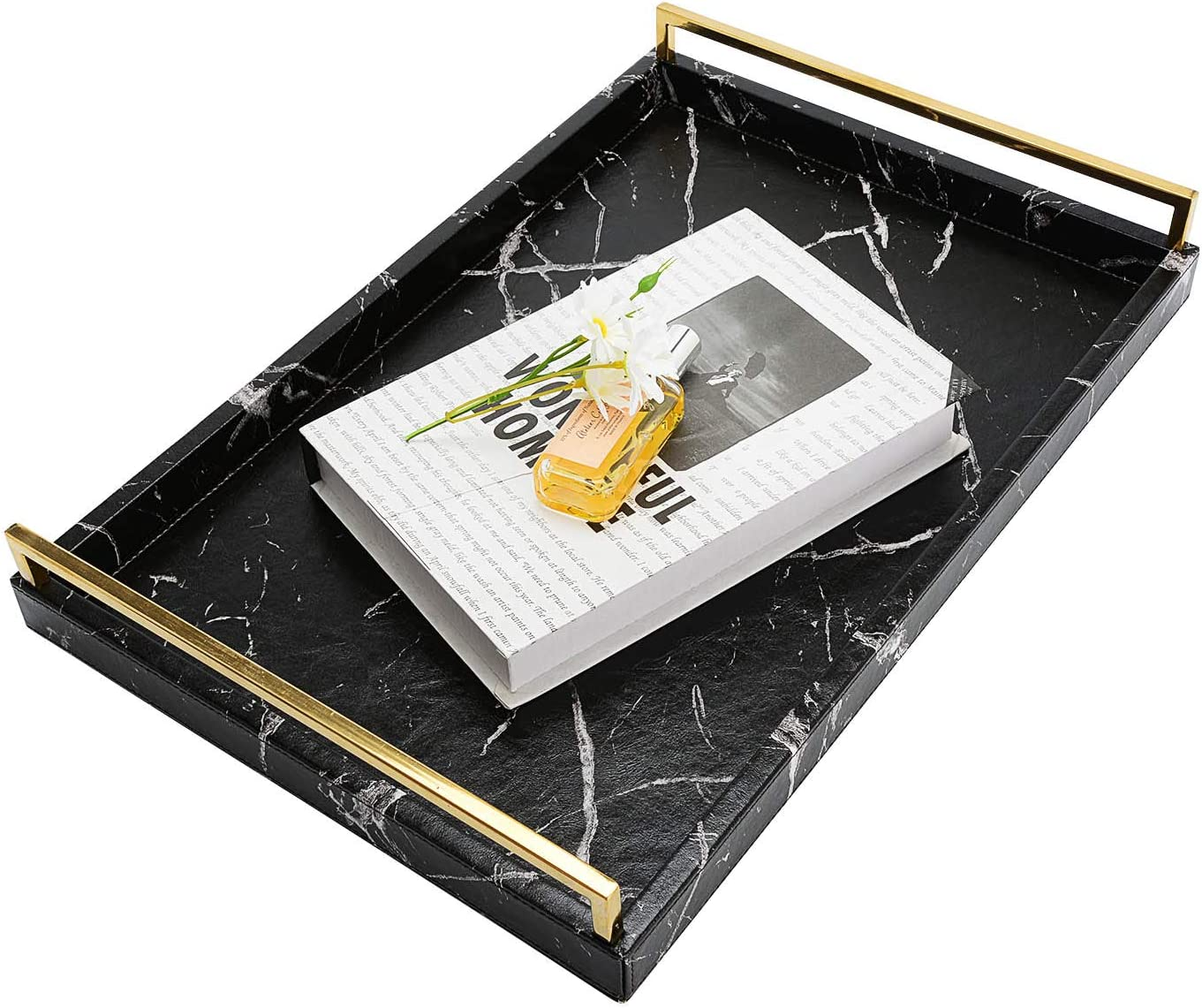 MorNon Decorative Trays Large 25% Philadelphia Mall OFF Food Leather PU Coffee Tray