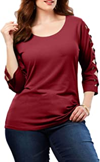 b5307b4190e Dearlove Women Plus Size 3 4 Sleeve Tops Tee Loose Casual T Shirt