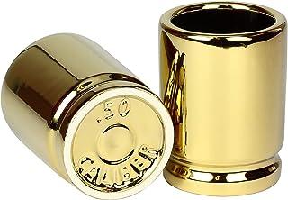 50 Cal Shot Glass – Set of 2 Shot Glasses Shaped like 50 Caliber Bullet Casings –..