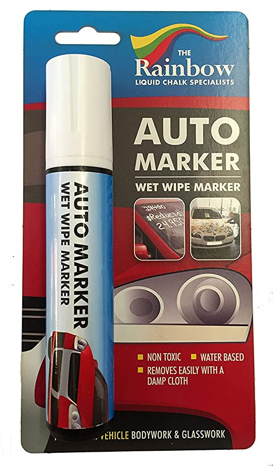 Car Paint Marker Pens Auto Writer - All Surfaces, Windows, Glass, Tire, Metal - Any Automobile, Truck or Bicycle, Water Based Wet Erase Removable Markers Pen - Large 15mm tip - White