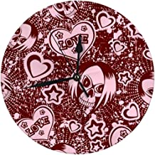 Round Wall Clock Cartoon Emo Girl Skull with Hair Hearts Inscription Love and Stars Decorative for Home,Office,School 9.8
