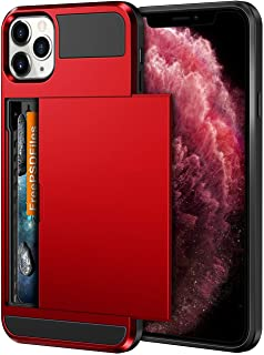 Vofolen Case for iPhone 11 Pro Case Wallet Credit Card Holder Slot Sliding Door Hidden Pocket Anti-Scratch Dual Layer Hybrid TPU Protective Hard Shell Back Cover for iPhone 11 Pro 5.8 inch Bright Red