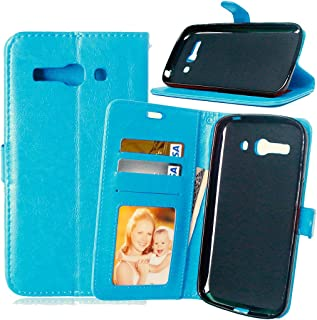 Zhusha Solid Color Premium PU Leather Wallet Magnetic Buckle Design Flip Folio Protective Case Cover with Card Slot/Stand for Alcatel One Touch Pop C9 7047D ( Color : Blue )