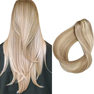 Hair Extensions Beige Blonde Highlight Clip in Extensions Remy Human Hair 20 Inch Soft Straight Blonde Balayage Clips on Real Hair Weft 70 Gram 7 Piece, Color #18/613