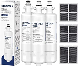 Crystala Filters Replacement for LG LT700P Refrigerator Water Filter,NSF 42 Certified Compatible with LG LT700P,ADQ36006101,ADQ36006102,9690,46-9690,and LT120F Air Filter ADQ73214404 (3-Pack)