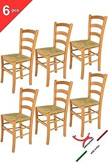 Tommychairs sillas de Design - Set 6 sillas Modelo Venice para Cocina, Comedor, Bar y Restaurante, con Estructura en Madera Color Miel y Asiento en Paja