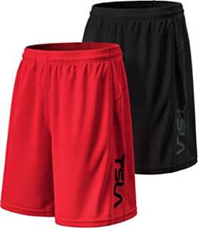 TSLA 1, 2 or 3 Pack Men's Athletic Mesh Shorts, Quick Dry Basketball Running Shorts, Gym Training Workout Shorts with Pockets